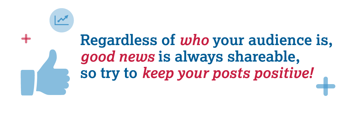 Regardless of who your audience is, good news is always shareable,  so try to keep your posts positive!