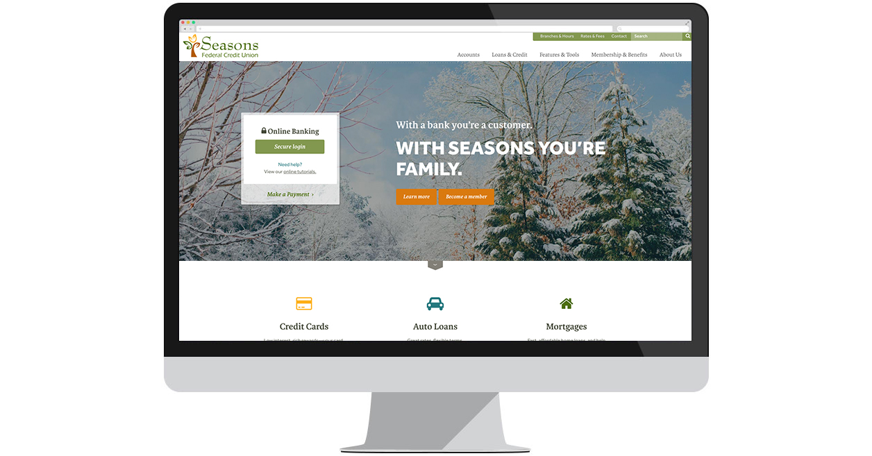 Seasons Federal Credit Union's new website