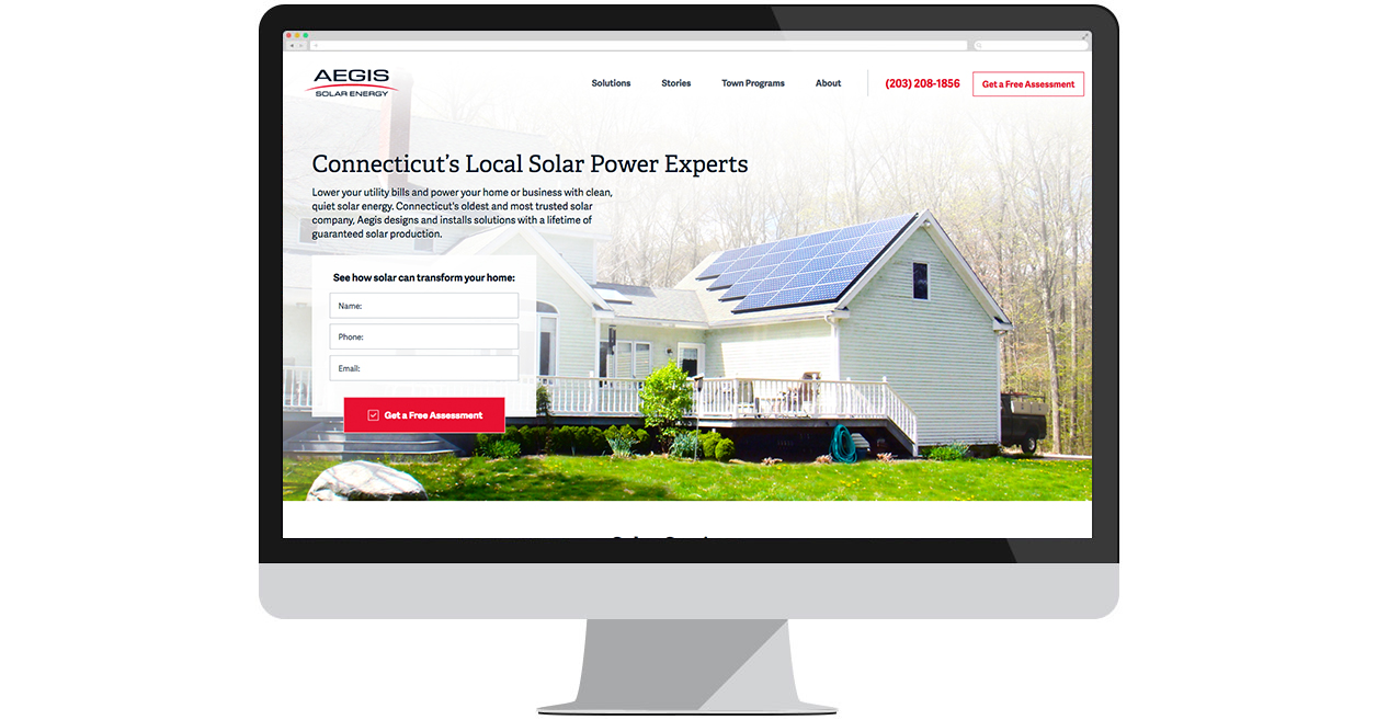 Web Solutions built a new site for Aegis Solar