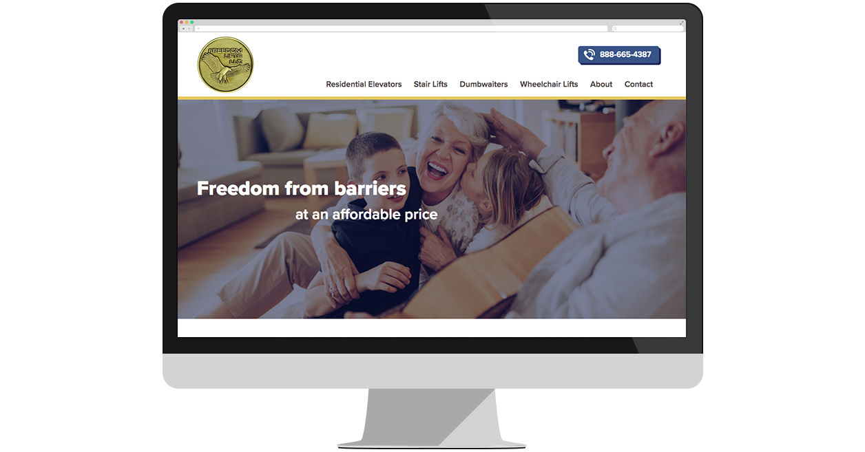 Freedom Lifts' New Website by Web Solutions