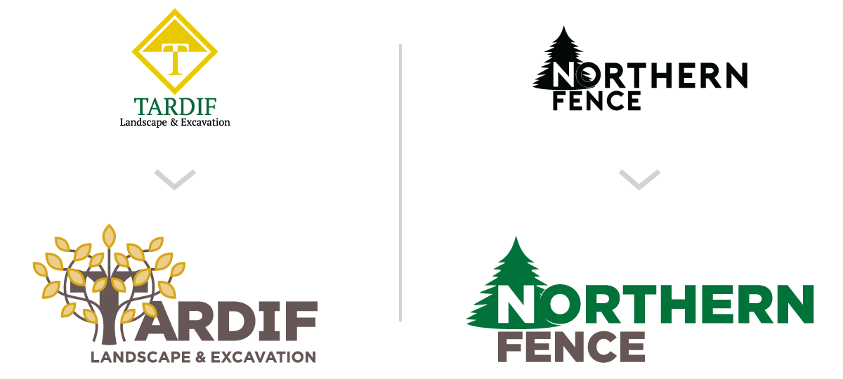 Updated logos for Tardif Landscape & Excavation and Northern Fence