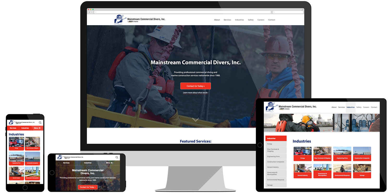Website for Mainstream Commercial Divers, Inc.