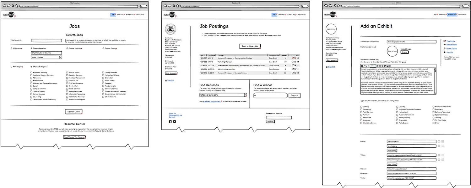 Student Affairs Wireframes