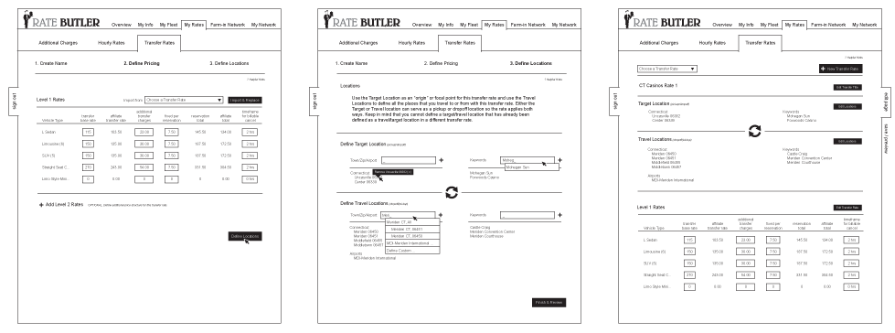 UI wireframes for Rate Butler web application