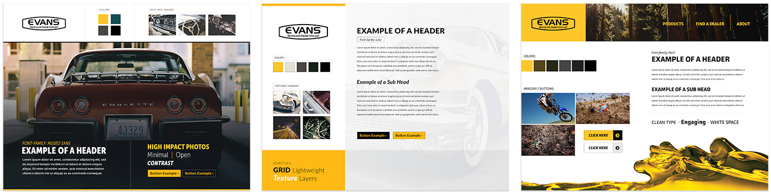Style boards forEvans Coolant web design