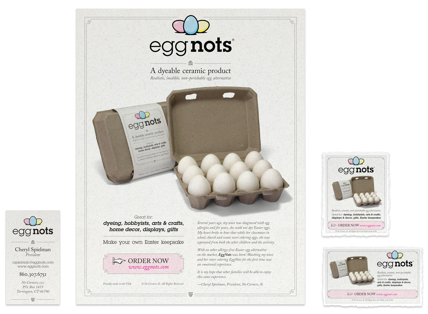 Print design for EggNots collateral
