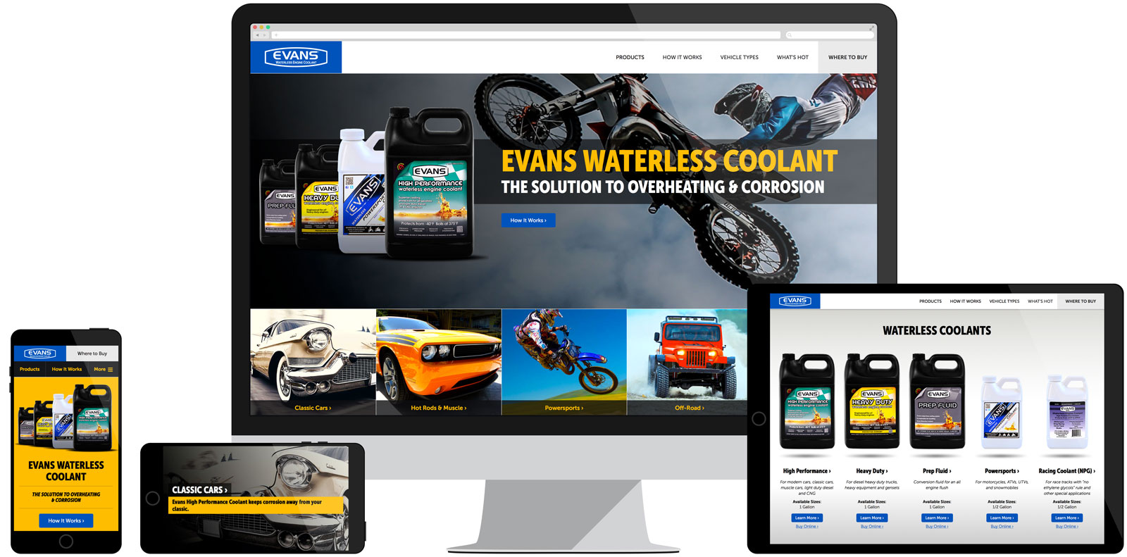 Evans Waterless Coolant Website Development
