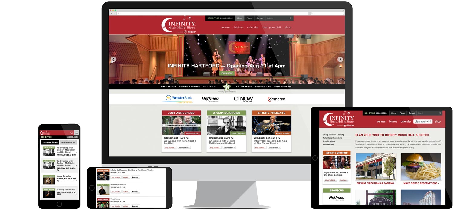 Desktop and mobile web design for Infinity Music Hall