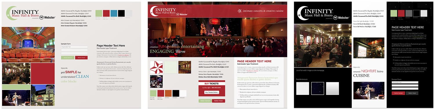 Style boards for Infinity Music Hall web design