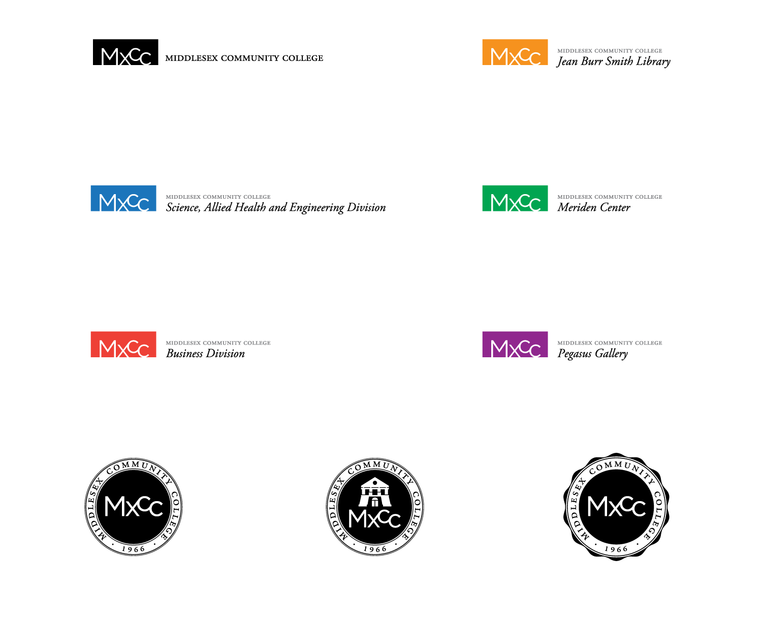 Variations of the MxCC logo