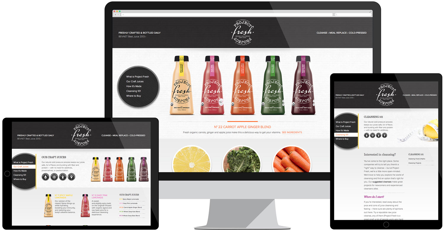 Responsive web design for Project Fresh