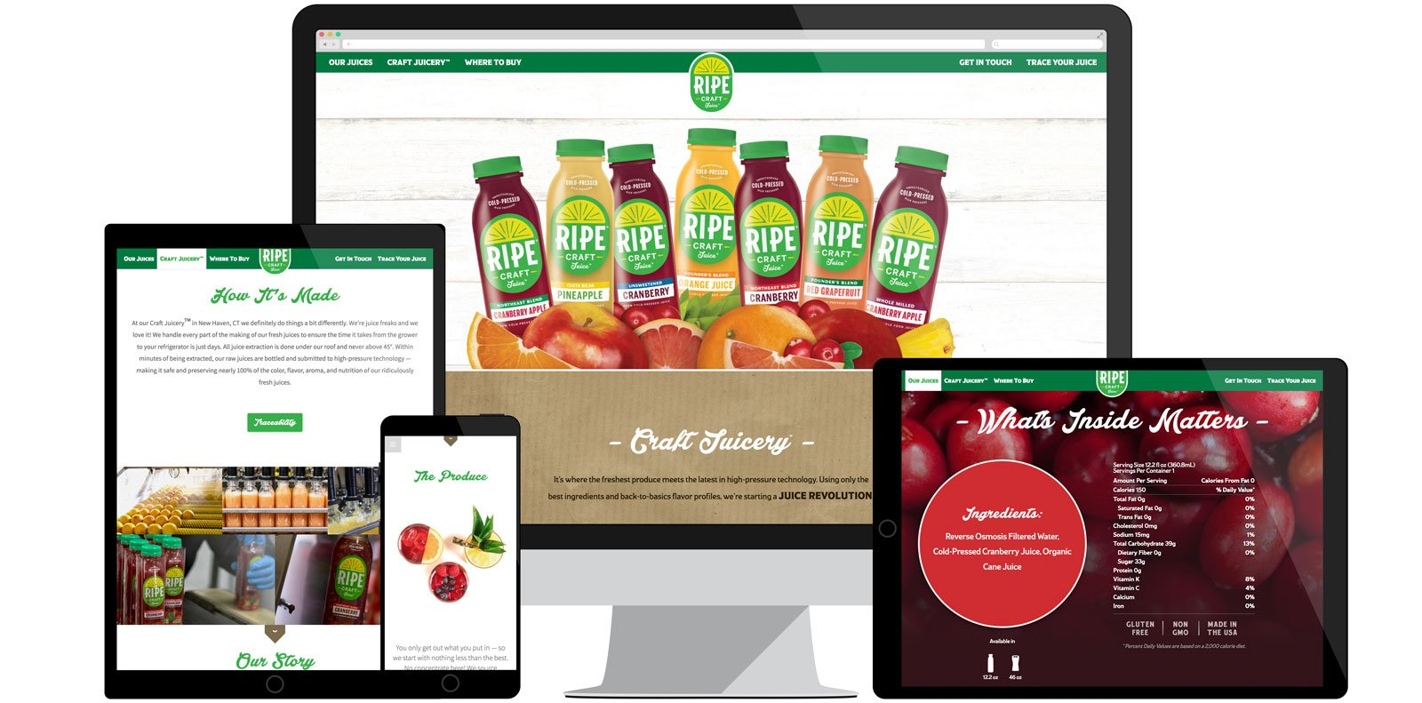 Ripe Craft Juice website