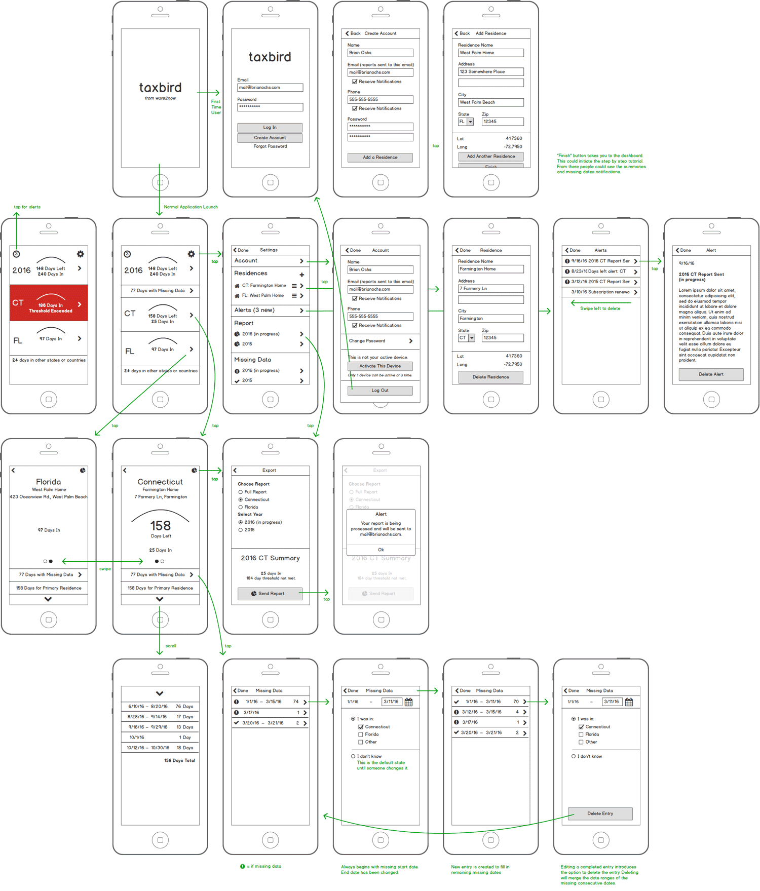 Wireframes for TaxBird