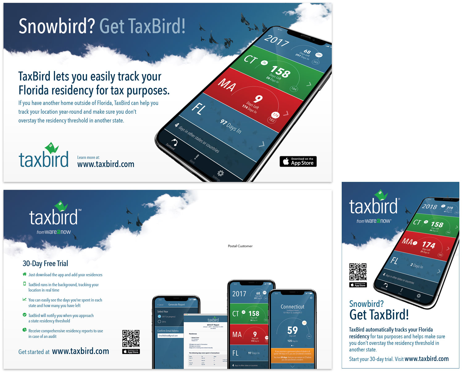 Postcard and AD for TaxBird